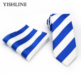 Wholesale Silk Neck Ties Xl - T189 Men`s Neck Ties 100% Silk 8CM Blue White Striped Jacquard Woven Classic Tie + Hanky Set For Formal Wedding Business Party
