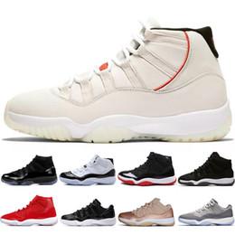 Platinum Tint Concord 45 11 XI 11s Casquette et robe Hommes Chaussures de basketball Prom Night Gym Rouge Bred Barons Gris designer de baskets ? partir de fabricateur