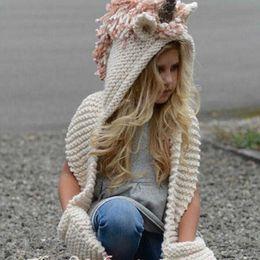 Wholesale Girls Hats Scarfs - Fashion Winter Unicorn Knitted Hats Scarf Tassels Baby Winter Warm Hats Kids Cartoon Cute Knitted Beanies Caps Hats