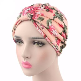 hair fall protection Coupons - Fashion Muslim Women Strech Print Flower Chemo Beanie Hat Turban Headwear Wrap Cap Hair Loss Cancer