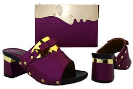 purple handbags for sale Promo Codes - Top sale purple women shoes kitten heel 7CM and bag set for african shoes match handbag set for dress BCH-26