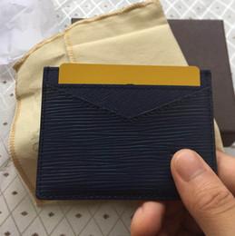 Синие кожаные кошельки онлайн-Повседневная Марка держатель карты черный синий мини кошелек Мужчины / Женщины натуральная кожа ID кредитной карты тонкий автобус карты бумажник с Мешок пыли коробка