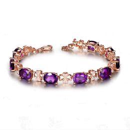Luxus 18 Karat Gold Farbe Natürliche Lila Kristall Hohe Qualität Vier Blatt Armband Oval Zirkonia für Frauen Geschenk Schmuck Großhandel von Fabrikanten