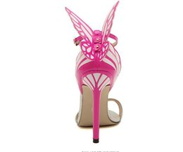 Wholesale wholesale party dresses for women - sandals for women wholesale fashion Angel-wing Sexy Open Toe Word Buckle Colorful Butterfly Rhinestone Leather With Fine high Heel Sandals