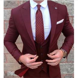 Casacos ocasião borgonha on-line-Ocasião formal Borgonha Homens Ternos 3 Peças (Jacket + Calça + Vent + Tie) Dois Buons Noivo Terno Masculino Custom Made Slim Fit Blazer