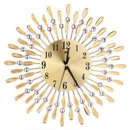 """Wholesale Flower Clocks - Hot!3D Metal Wall Clock Diamonds Flower Non-Ticking Silent Dazzling Clock For Home Kitchen Office Diameter 37.5"""" Jun23"""