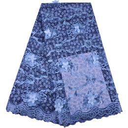 Argentina 2018 Nueva Tela de Encaje de Tul Africano Cielo Azul de Alta Calidad 3D Flor de Encaje Neto Francés Nigeria Bordado Vestido de Fiesta 1372 Suministro