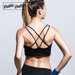 8132a1286 Strappy Sport Bra Yoga Top Criss Cross Strap Back Sports Bras Active Wear  Tops For Women Gym Underwear Brassiere Woman Fitness
