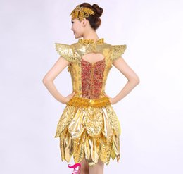 Wholesale Jazz Dance Wearing Clothes - High Quality jazz clothes Gold white jazz dance clothes paillette modern sequins adult costume large stretch stage wear dance clothing set