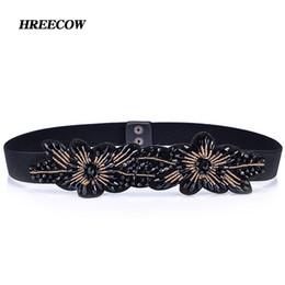 8f555583e42f Hot Fashion Flower Design woven elastic Artificial crystal wide belt lady  fashion Cummerbunds Female belts girdle for women