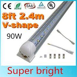 2019 nuove lampade fluorescenti 25pcs LED Tube Light, 8FT 90W, lampada a lampadina integrata a forma di V a doppio lato, funziona senza alimentatore T8, plug and play, copriobiettivo trasparente, 6000k