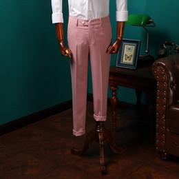 2019 розовое свадебное платье для мужчин 2017 Новое прибытие британского льняного текстиля брюки мужские повседневные костюмы летние розовые брюки мужчины тонкие костюмы брюки для свадебного платья CBKZ004 скидка розовое свадебное платье для мужчин