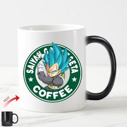 Wholesale Magic Dragon - Novelty Dragon Ball Magic Mug Dragon Ball Z Coffee Mug Vegeta Super Saiyan God Novelty Ceramic Anime Cup Color Change Kid Gifts