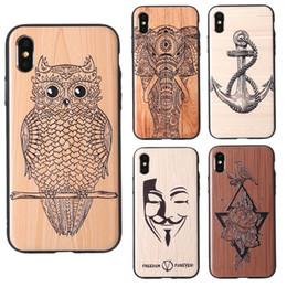 Capas de madeira esculpidas on-line-Padrão de madeira híbrido tpu + pc padrão de madeira esculpida impressão do telefone móvel case capa slim para iphone xs max xr x 6 7 8 plus 6 plus com saco de opp