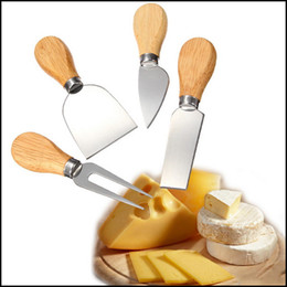 Wholesale Free Cheese - Free shipping 30 sets 1 Set 4pcs Knives Bard Set Oak Handle Cheese Knife Kit Kitchen Cooking Tools Useful Accessories