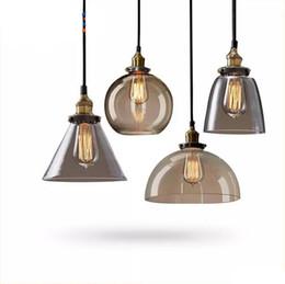 Wholesale Brown Lampshade - Retro Vintage Pendant Lamp Lustres Glass Lampshade Pendant Light E27 110V 220V for Dinning Room Home Decoration Lighting.