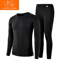 Wholesale Underwear Youth - JOYOUS LUCKY Men's Cotton Thin Section Thermal Underwear Men Long Johns Cotton Suit Round Neck Youth Underwear Sets Foundation