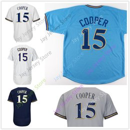 Wholesale Cooper Man - Cecil Cooper Jersey Milwaukee Baseball Jerseys Home Away Flexbase Cooperstown Vintage Blue White Pinstripe Blue Grey