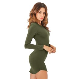 Wholesale office gowns - 2018 4 Colors Autumn Dress Sexy Mini Slim Office Dress Long sleeve Bandage Summer Dress Solid Robes Vestidos