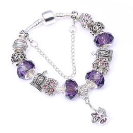 2019 pérolas de vidro pandora roxo Adequado para estilo Pandora charme europeu 3MM cadeia de cobra roxo contas de vidro pulseira de jóias desconto pérolas de vidro pandora roxo