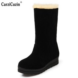 Wholesale Ivory Mid Heel Shoes - Women High Heel Mid Calf Boots Two Method Winter Warm Snow Botas Half Short Gladiator Boot Footwear Shoes Size 34-39