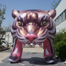 Wholesale inflatable tunnels - 4m Decorative Show Artificial Tiger Entrance Inflatable Tiger Arch Tunnel