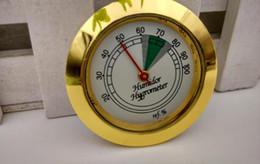 charutos higrômetro Desconto Higrômetro 43mm da caixa de charuto do medidor da temperatura e da umidade do metal do ouro do nível superior