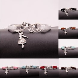 Wholesale wholesale dance bracelets - AFSHOR Hot Fashion Antique Silver Ballerina Girl Charms Small Pendant Infinity Love Leather Dance Bracelets Lovely Jewelry Unique Gifts