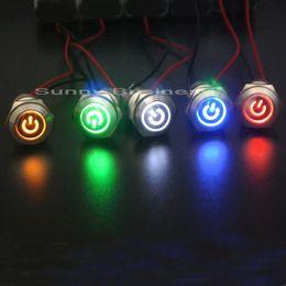 2019 светодиодная кнопка питания 16mml металл кнопочный переключатель LED Power mark блокировка фиксации самоустанавливающийся мгновенный 1NO 1NC красный синий желтый зеленый белый дешево светодиодная кнопка питания
