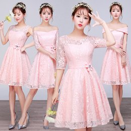 Short pink lace summer knee length sweat lady girl women princess  bridesmaid banquet party dress gown free shipping 605694421a95