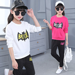 Wholesale tracksuits for baby girls - Children School Kids Clothing Sets For Girls Sports Suits Letter Cartoon Girls Tracksuits Baby Girl Cotton Casual Sportswear