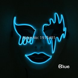 Wholesale Cable Mask - Top Selling Creative Easter Decor EL Cable Tube Bloody Eye Mask European Style Funky Led Strip Neon Mysterious Mask with Drive