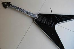Flying v custom guitarra electrica online-negro personalizado 1958 Flying V abalone guitarra eléctrica Surround envío gratis 12 03 26