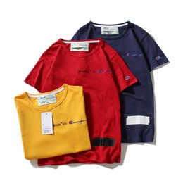 Wholesale relaxed t shirt - 2018 champ T Shirt Short Sleeve Hip Hop tee 12 colors