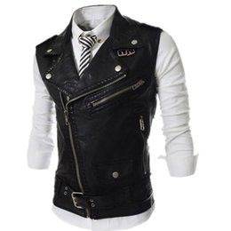 Wholesale sleeveless leather motorcycle vest - New 2017 Men's Fashion Leather Vest Jackets Man Sleeveless Motorcycle Tank Tops Spring Autumn zipper decoration Outerwear Coats