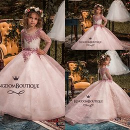 Wholesale Toddler Formal Wear Pageant Dress - Lovely Pink Ball Gown Toddler Girls Pageant Dresses 2018 Sheer Long Sleeves Crew Neck Appliques Flower Girl Formal Wear Gowns Custom Made