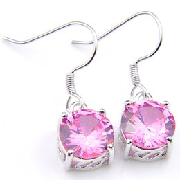 pink gemstones earrings Promo Codes - Luckyshine Europe popular Woman Round Pink Topaz Cubic Zirconia Gemstone Silver Dangle Earrings for Holiday Wedding Party 10 Pair