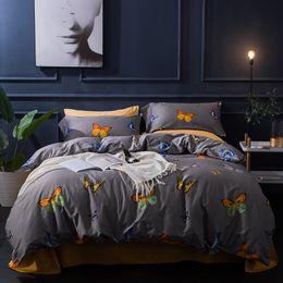Wholesale Blue Ice Plant - Tribute silk Egyptian Cotton Butterfly Floral Bedding set Queen King size 4Pcs Duvet cover set Bed Sheet Linen Pillowcases