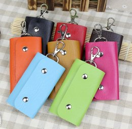 Wholesale Korean Car Cover - Hot Sale Fashion New Style Pu Leather Quality Solid Colors Keychain Car Housekeeper Holders Key Wallets For Men Free Shipping