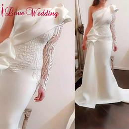 Argentina 2018 estilo único uno Shouler encaje apliques moldeado por encargo vestidos de novia de sirena cheap unique lace mermaid wedding dresses Suministro