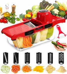 Wholesale Vegetable Julienne Slicer - Mandoline Slicer Vegetable Cutter Grater Chopper Julienne Slicer-6 Interchangeable Blades with Peeler Hand Protector Food Storage Container