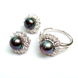Wholesale Opal Mothers Ring - Noblest Silver Natural black akoya pearl Ring + Earrings AAA Grade