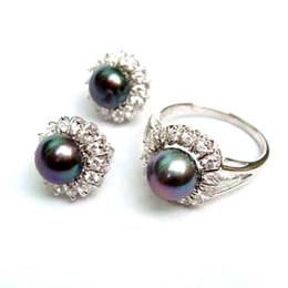 Wholesale 14k Gold Sapphire Bracelet - Noblest Silver Natural black akoya pearl Ring + Earrings AAA Grade