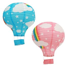 Wholesale Candle Lanterns For Wedding Wholesale - 5 Pieces 12 Inch 30cm Rainbow Hot Air Balloons Hanging Paper Lanterns For Wedding Baby Shower Kids Birthday Party Decorations