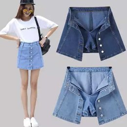 ef5abf3a3feb Women Vintage Short A-line Mini Skirt Denim High Waist Jean Skirt Casual  Preppy Style Sexy Slit Safety Pants Jeans Skirts S916