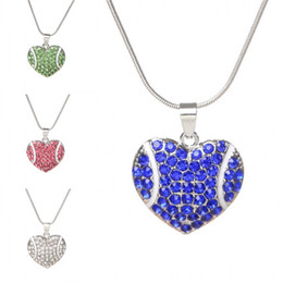 Wholesale crystal wedding party favors - Colour Crystal Necklace Charm Originality Diamond Heart Pendant Baseball Designer Necklaces Jewelry Wedding Favors Party Gifts 4 2mq UU