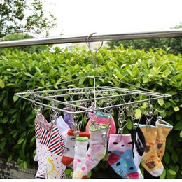 Wholesale Folding Clothing Racks - Stainless Steel Socks Racks Durable High Elastic Force Clips Hangers Square Hanging Clothes Hanger Multi Function 11 2wx B
