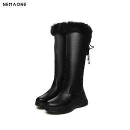 aa7de3805d1190 Nouvelles compensées plateforme bottes de neige femme hiver genou chaud  haute dames Bottes femme sexy fourrure robe de soirée chaussures fille noir  blanc ...