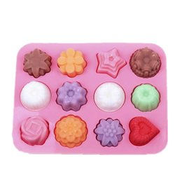 Wholesale Pudding Set - Wholesale- 1 pc 12 Holes Flower Cake Mold Silicone 3D Different Flowers Chocolate Mold DIY Mini Muffin Cake Pudding Handmade Soap Molds