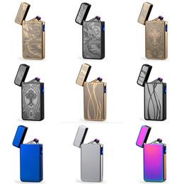 usb recargable pulso más ligero Rebajas Encendedor de cigarrillos electrónicos para el hogar Encendedor de arco pulsado doble noble Encendedores de cigarrillos sin llama recargables USB en arco eléctrico HH7-855